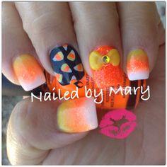 Candy corn halloween orange square nails