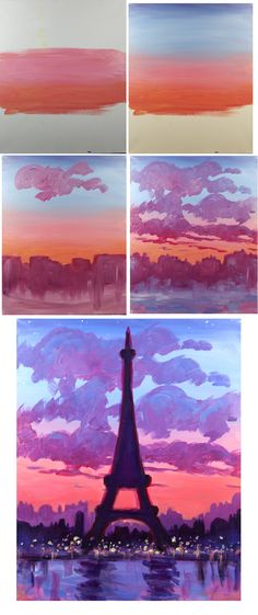 Eiffel Sunset - Easy Brushes - Big flat, Round medium , round small Color : red, white, blue, yellow