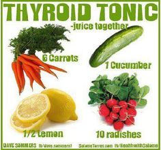 Thyroid Tonic Recipe: 6 carrots, 1 cucumber, 10 radishes, lemon Radishes contain a substance called Raphanin. This is what Wikipedia says about. Hypothyroidism Diet, Thyroid Diet, Thyroid Health, Thyroid Issues, Thyroid Gland, Thyroid Cancer, Thyroid Disease, Food For Thyroid, Thyroid Cure