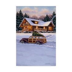 trademark fine art log cabin canvas art by william breedon - Woodies Christmas Decorations