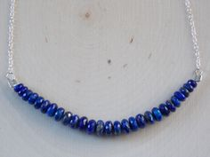 Lapis Lazuli Necklace / Sterling Silver & Lapis Lazuli Necklace / Lapis Lazuli Jewelry / Lapis Lazuli / Gemstone Necklace / Gemstone / Lapis by MalieCreations on Etsy