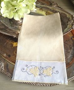 Vintage Linen Tea Towel Gray and Yellow Detailed by TastefulTikes, $10.50