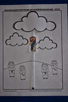 Jesus ascends into heaven in a cloud.