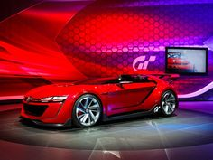 The Volkswagen GTI Roadster Vision is a slick, full-scale realization of a concept car that will be featured in Gran Turismo racing sim for the PlayStation games console.