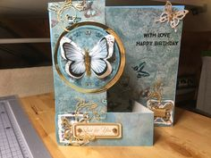 Made by Barbara - Linda card stock, Hunkydory butterfly. zig zag card inspired by create and craft