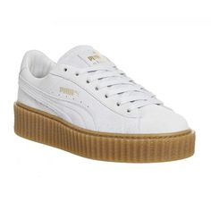 Puma Suede Creepers ($125) ❤ liked on Polyvore featuring shoes, sneakers, trainers, hers trainers, rihanna star white oatmeal, white platform shoes, creeper sneakers, puma shoes, punk platform shoes and platform sneakers