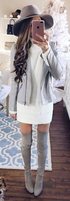 what to wear with a hat : biker jacket + sweater dress + over the knee boots