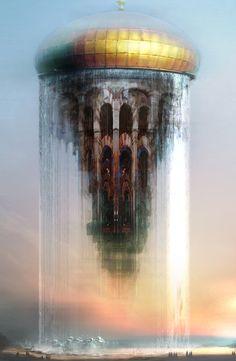 Floating Temple -- Daniel Dociu for Guild Wars 2 #fantasy_illustration #scifi_illustration #scenery_illustration