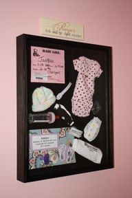 shadow box for new baby stuff