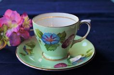 A superb vintage fine bone china demitasse cup and saucer made by Windsor china, c 1950. Decorated with 'Morning Glory', so pretty! by Alexsprettyvintage on Etsy