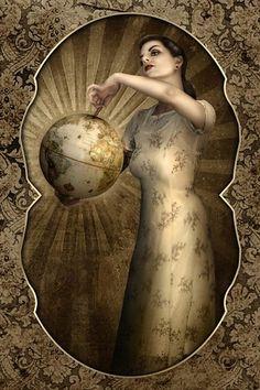 World tarot card from the Lowbrow art project/ artist Aunia Kahn