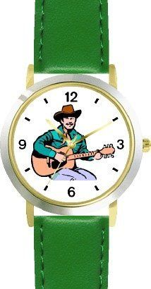 Country Western Singer Playing Guitar 1 Musician - WATCHBUDDY® DELUXE TWO-TONE THEME WATCH - Arabic Numbers - Green Leather Strap-Size-Children's Size-Small ( Boy's Size & Girl's Size ) WatchBuddy. $49.95. Save 38% Off!