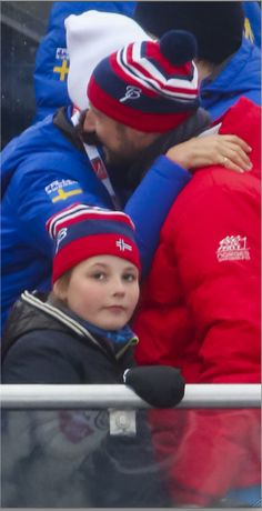 Sweden's Crown Princess Victoria greeting Norway's Crown Prince Haakon at the FIS Nordic World Ski Championships on February 28, 2015 in Falun, Sweden.