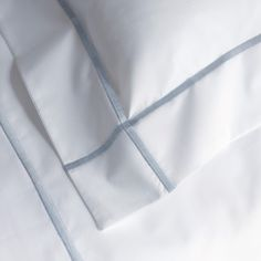 Athena Bedding Collection is a new modern classic design. Bourdon-stitched borders are embroidered vertically and horizontally on crisp, but ever so soft Egyptian combed cotton 500 thread count percale sheeting. Bedding And Curtain Sets, Best Bedding Sets, Rustic Bedding, Linen Bedding, Bed Linens, Framed Records, Grey Sheets, Ikea, Interior Design Advice