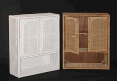 Wicker Medicine Cabinet in White and Honey/Natural Color via @wickerparadise #wicker #medicine #cabinet #storage www.wickerparadise.com
