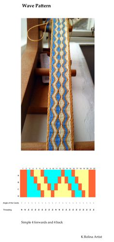 A simple, but pretty wave pattern with instructions by K Rolina Artist, Diy Abschnitt, Inkle Weaving Patterns, Weaving Loom Diy, Inkle Loom, Card Weaving, Loom Knitting Patterns, Basket Weaving, Art Du Fil, Viking Knit, Weaving Projects