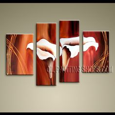 Huge Modern Abstract Painting Artist Oil Painting Stretched Ready To Hang Lily Flowers. This 4 panels canvas wall art is hand painted by Bo Yi Art Studio, instock - $138. To see more, visit OilPaintingShops.com