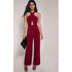 Lalita Wine Slinky Cross Front Jumpsuit-6 ($22) ❤ liked on Polyvore featuring jumpsuits, red, sexy red jumpsuit, red jump suit, red jumpsuit, sexy jump suit and pink jumpsuit