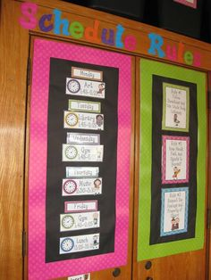 Schedule and classroom rules - can turn any space into a bulletin board!  Love the colours!!