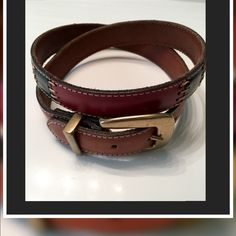 """Fossil Patchwork Leather Belt Fossil Patchwork Leather Belt ✨Great Condition Size-M Genuine Leather Made in Turkey Tan Leather with Patches of Black/Burgundy/Brown& Olive with Tan stitching.Gold-tone Buckle✨35"""" from buckle to end..1"""" Wide Fossil Accessories Belts"""