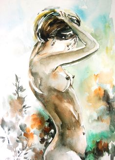 Woman Figure Nude Original Watercolor Painting Woman by CanotStop, $150.00