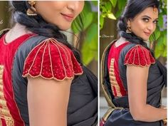 From this video you can learn how to make a hand made designer sleeves in simple and easy method. Central Govt Recognised Certificate For AARI AND FASHION DE. New Saree Blouse Designs, Cutwork Blouse Designs, Blouse Designs Catalogue, Simple Blouse Designs, Blouse Back Neck Designs, Stylish Blouse Design, Hand Work Blouse Design, Bridal Blouse Designs, Girls Frock Design