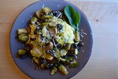 Sage Polenta Bowl with Parmesan, Roasted Brussels Sprouts and Wild Mushrooms