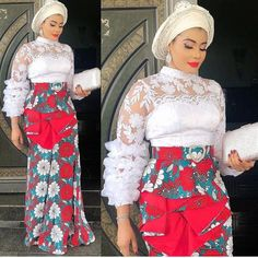 Beautiful Ankara Aso Ebi Skirt Styles With Matching Lace Top Aso ebi styles for Beautiful women African Lace Styles, African Fashion Designers, African Inspired Fashion, Latest African Fashion Dresses, African Print Dresses, African Dresses For Women, African Print Fashion, Africa Fashion, African Attire