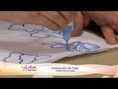 1º) 45 mm de vídeo:A primeira parte ensina a usar o termo-colante. Na 2º) foi ensinado a bordar_Vida Melhor - Artesanato: Toalha Recortada