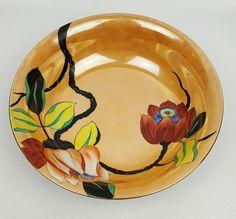 1920s Noritake serving bowl lustreware with hand painted tropical flowers #Noritake