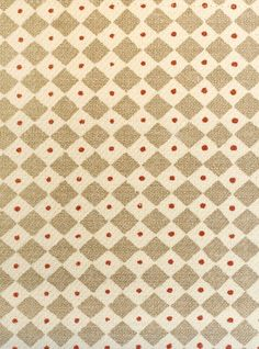 Diamond Dot linen Fabric Printed linen fabric with small dot and diamonds design in taupe, cream and dark red.  Suitable for Upholstery, curtains and soft furnishings.