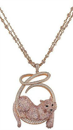 Chopard Pink Diamond Panther Necklace. I like this lazy kitty