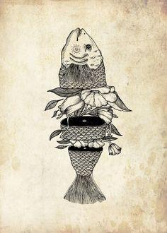Displate Poster Fish And The Flower fish Fish Illustration, Ink Illustrations, Art Sketches, Art Drawings, Surreal Artwork, Retro Tattoos, Fish Art, Gravure, Art Sketchbook