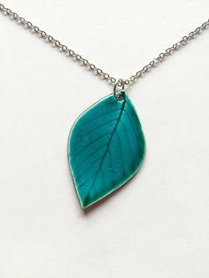 Medium Ceramic Turquoise Leaf Pendant by AlainaSheenDesigns