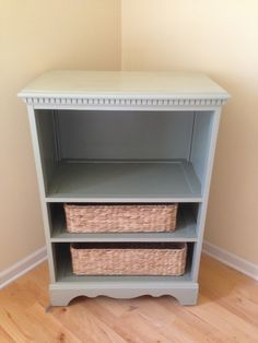 Chest of drawers repurposed into a TV cabinet with new baskets added for storage. One drawer slide was removed to make the area large enough for a TV. If the drawers are sturdy, nail two together for a bookcase!