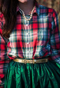 Christmas plaid shirt and emerald green party skirt