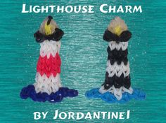 Rainbow Loom LIGHT HOUSE Charm. Designed and loomed by jordantine1. Click photo for YouTube tutorial. 05/30/14.