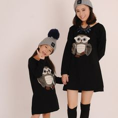 2015 autumn&winter Children Owl Animal Sport dress Clothing long tshirt for mother and daughter Pullover Cloth dress for Kids