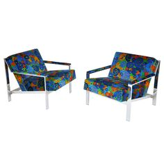 Chrome Lounge Chairs in Jack Lenor Larsen velvet   From a unique collection of antique and modern lounge chairs at http://www.1stdibs.com/furniture/seating/lounge-chairs/