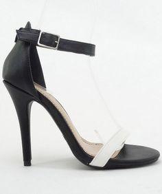 Room of Fashion - Anne Michelle Enzo-01 Patent Open Toe Ankle Strap Sandal Pump. Item #Enzo01-BlkWhtPU