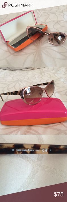 Kate spade rose gold cat eye sunnies Put on that red lipstick and these sunnies and strut around town! Old Hollywood glam meets sassy, boss girl modern day styling. Gradient brown lenses, rose gold frames and a tortoise shell stems. Comes with case and cloth! NWT kate spade Accessories Sunglasses
