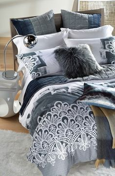 Grey and silver inspiration for the bedroom.