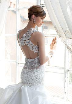 Julien Mattion dress with Swarovski crystals: swarovs. Wedding Dress Backs, White Wedding Gowns, Beautiful Wedding Gowns, Glamorous Wedding, Wedding Bridesmaid Dresses, Dream Wedding Dresses, Wedding Attire, Bridal Dresses, Bridesmaids