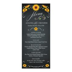 Sunflower Wedding Menu Sunflower Floral Chalkboard Vintage Wedding Menu Card