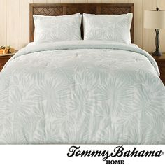 @Overstock - The Tommy Bahama Floreana Mist Cotton Comforter Set includes shams and is reversible. With a tropical leaf print that reverses to a soft stripe, the 300 thread count traditional cotton sateen comforter is filled with comfortable polyester.http://www.overstock.com/Bedding-Bath/Tommy-Bahama-Floreana-Mist-3-piece-Comforter-Set/7675964/product.html?CID=214117 $122.99