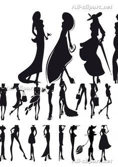 Женские силуэты в векторе | Girls silhouettes vector