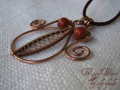 Hammered Copper Wire and Coral Bead Pendant