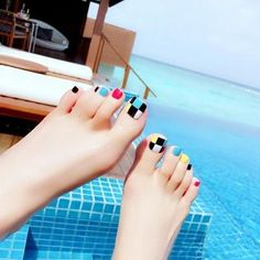 fashion design cute toes latest French style candy colorful f. Feet Nail Design, Nail Salon Design, Toe Nail Designs, Cute Toe Nails, Toe Nail Art, Pretty Nails, Nails For Kids, Girls Nails, Hair And Nails