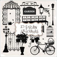 Scrap-kit - 15 Garden Silhouettes » Down-Down.Com :: Download Free
