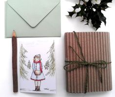 #HolidayCards 10  A #Snowy Walk  Envelopes by CastleOnTheHill, $8.00 #Christmas #Winter #card #decoration